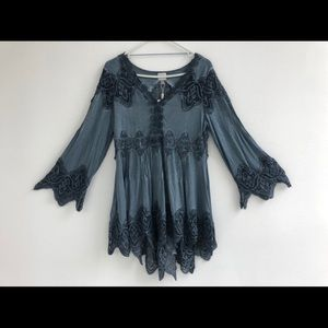 Blue Lace Bell Sleeve Top